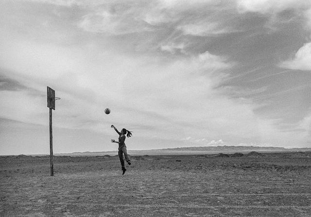 mongolia, black and white, street photography, basketball, desert