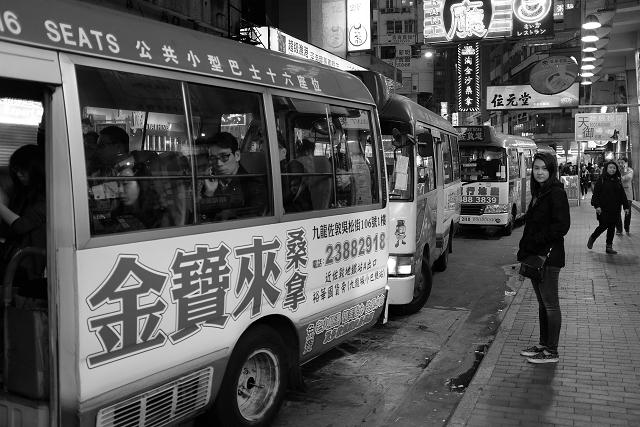 hong kong, streets, black and white