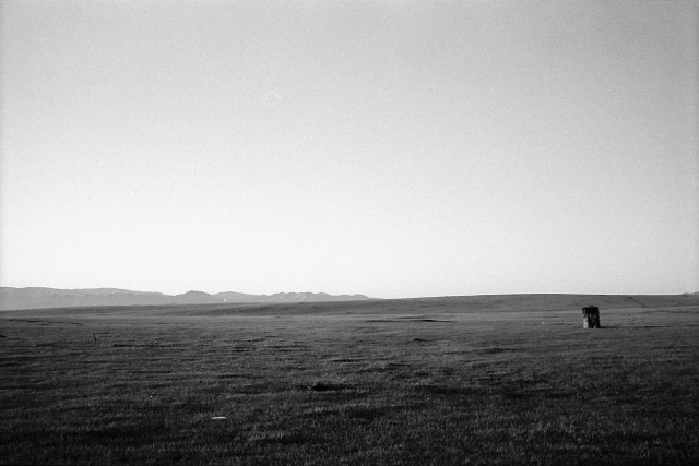 toilet, mongolia, open space, black and white