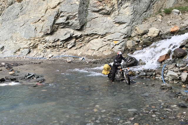 stream crossing, riding through stream, motorcycle, royal enfield, adventure, travel, wanderlust, road trip