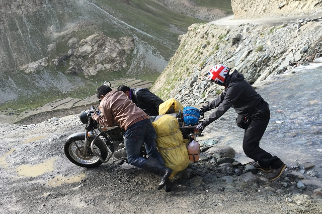 fall, stream crossing, motorcycle, royal enfield, motorcycle trip, india, incredible india