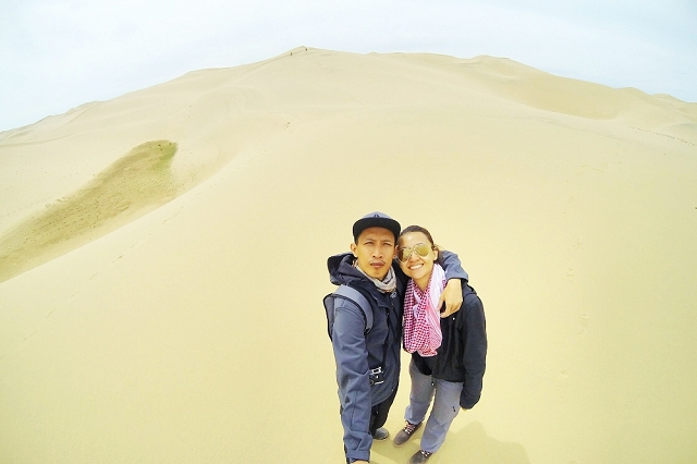 gobi desert, gopro, honeymoon, wefie, travel, adventure, wanderlust, husband and wife