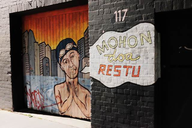 graffiti, melbourne, hipster, Little Lonsdale Street, mohon doa restu