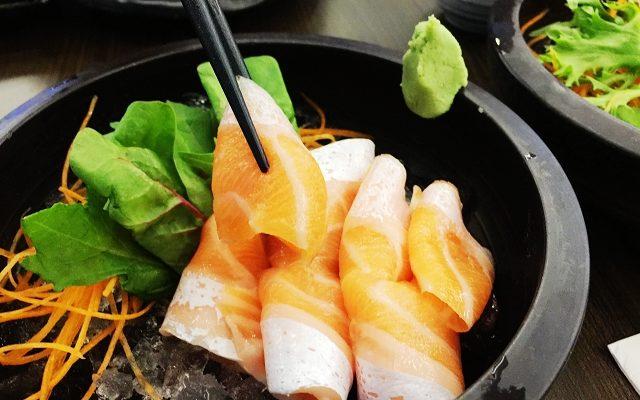 sake, isurumuya, salmon belly sashimi, halal japanese food singapore,