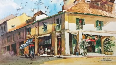 idris ali, water colour, painting, maya gallery, artist, singapore, khazanah